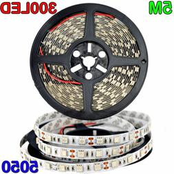 USA Bright 12V 5M 16.4ft 5050 RGB Waterproof SMD 300 LED Fle