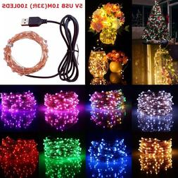 USB 5M/10M/ 50/100 LED Copper Wire String light Indoor Outdo
