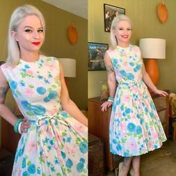 Vintage 1950s/1960s Dress • Light Blue Floral Day Dress wi