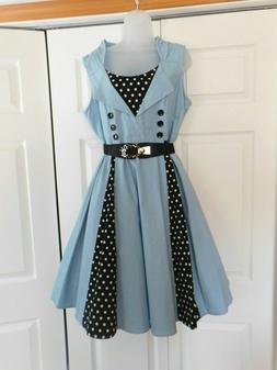 Vintage Light Blue Polka Dot Rockabilly Swing Sleeveless Pol