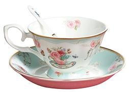 Vintage Rose Bone China Tea Cup and Saucer Set With Spoon Cu