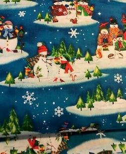 Winter Wishes Snowmen Light Blue Snowy Christmas Quilt Fabri