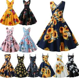 Women 50s 60s Vintage Retro Rockabilly Sunflower Holiday Par