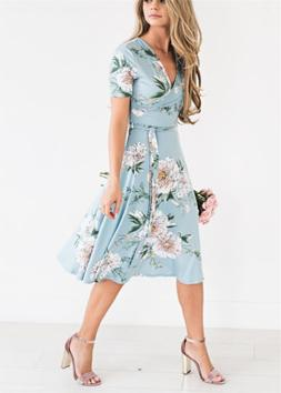 women floral print short sleeve dress ladies