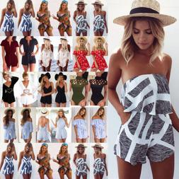 Women Holiday Mini Playsuit Jumpsuit Rompers Summer Beach Ca