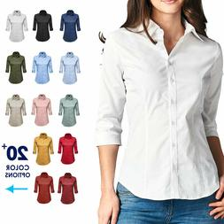 Women Button Down Shirt Blouse 3/4 Sleeve Collared Office Wo