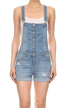 Vialumi Women's Distressed Button Up EnJean Short Overalls L