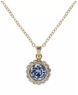 women s gold light blue crystal pendant