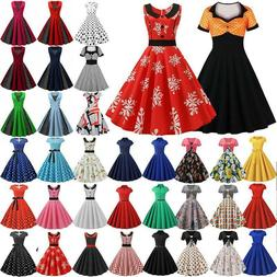 Women's Rockabilly Vintage Swing Dress 50s 60s Housewife Wed