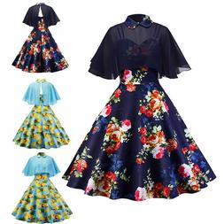 Women Vintage 50s Cloak Floral Formal Wedding Cocktail Eveni