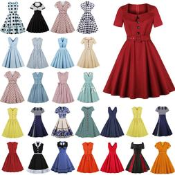 Womens 50s 60s Hepburn Vintage Rockabilly Housewife Evening