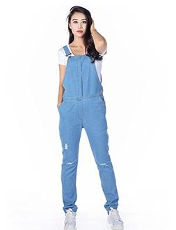 womens blue denim bib jumpsuit sexy broken