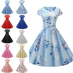 Womens Hepburn 50s 60s Vintage Rockabilly Cocktail Eveing Pa