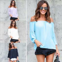Womens Ladies Off The Shoulder T-Shirt Casual Loose Tops Blo
