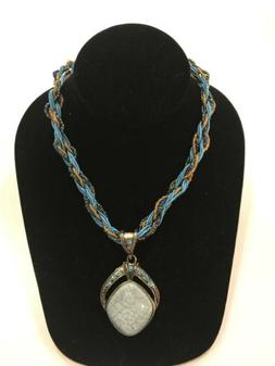 Women's Light Blue & Gold Braided Necklace with Faux Stone