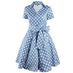 Samtree Womens Polka Dot Dresses,50s Style Short Sleeves Roc
