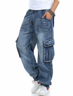 Yeokou Men's Casual Loose Hip Hop Denim Work Pants Jeans wit